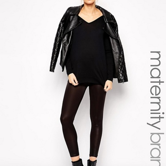 58bd6de7eaab5 ASOS Maternity Pants | Mamalicious Leather Look Leggings | Poshmark